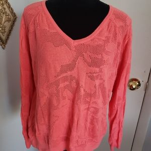 Lane Bryant coral on coral print sweater. …